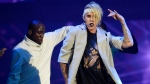 Justin Bieber performs during his 'Purpose World Tour' stop at Staples Center in Los Angeles on Sunday, March 20, 2016. (Chris Pizzello / Invision)