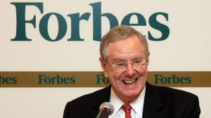 Chairman and Editor-in-Chief of Forbes Media, Steve Forbes, smiles during a press conference in Kuala Lumpur, Malaysia, Monday, Sept. 12, 2011. Forbes was on a train that crashed into a piece of construction equipment near Philadelphia Sunday, killing two people on board. (AP Photo / Lai Seng Sin)