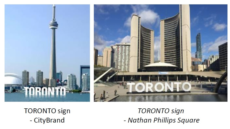 In a side-by-side comparison, Bruce Barrow's original Toronto sign design concept (left) and the current Toronto sign structure at city hall. (Bruce Barrow/Bruce Barrow Creative)