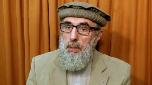 Afghan warlord Gulbuddin Hekmatyar in an undisclosed location, in an image released the week of Nov. 21, 2015. (AP)