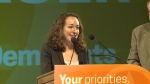 New Democrat Nicole Sarauer was declared the winner in Regina Douglas Park in Monday night's provincial election.