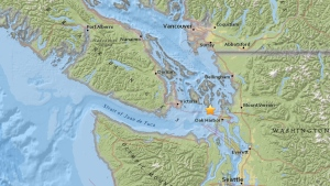 The yellow star on this map from the USGS shows the location of an earthquake, near Victoria, B.C., on Tuesday, April 5, 2016.