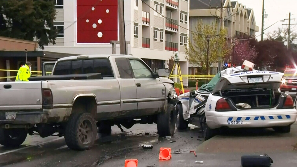 A 32-year-old RCMP officer has died after a crash in Langford early Tuesday morning.