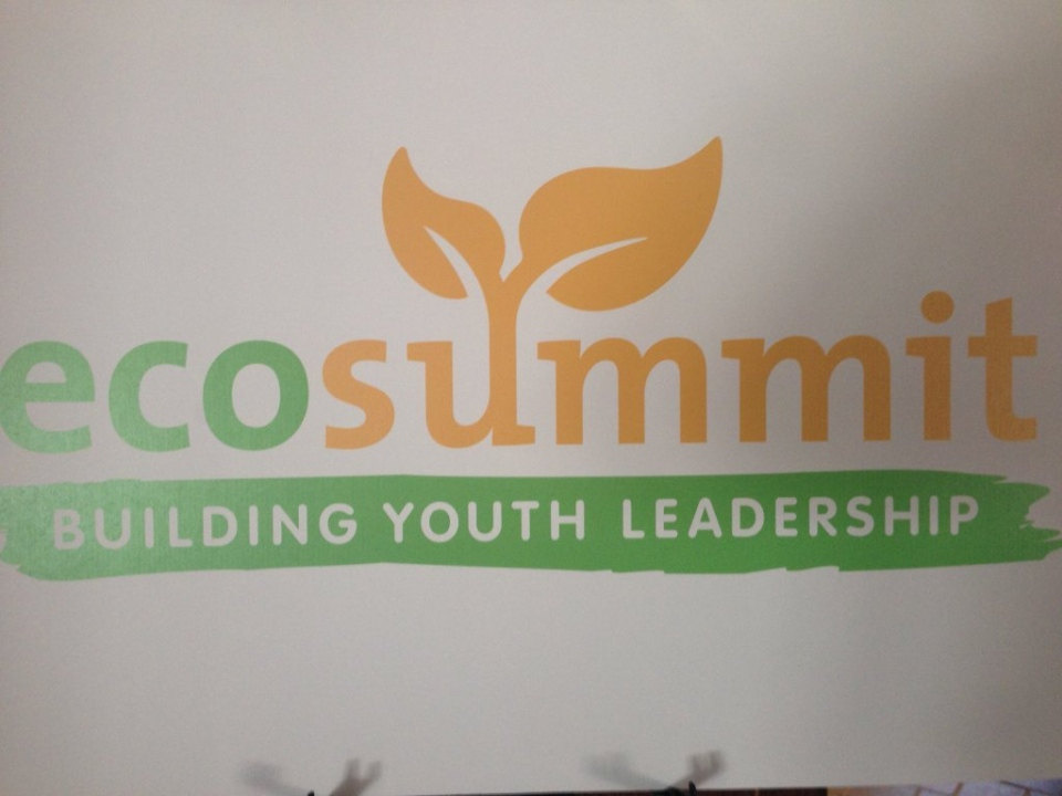 The EcoSummit sign can be seen in Woodbridge, Ont. on Tuesday, April 5, 2016. (Brandon Rowe/ CTV Barrie)