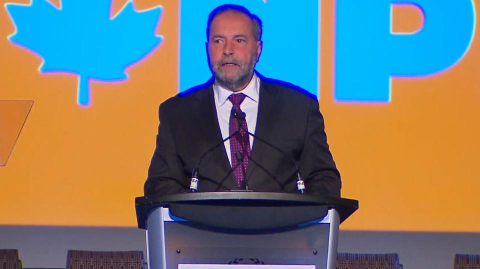 NDP Leader Tom Mulcair is seen speaking in Montreal, Tuesday, April 5, 2016.