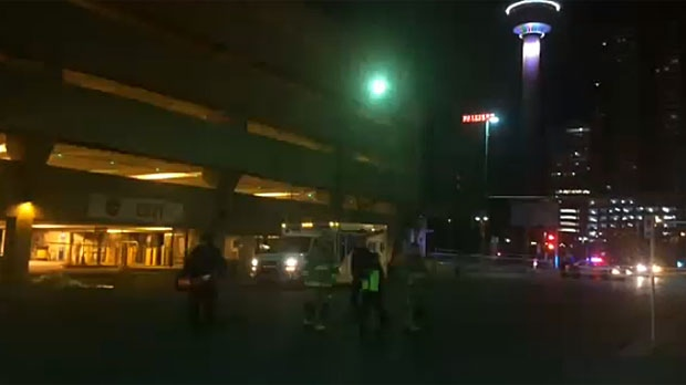 Police have blocked off a scene in downtown Calgary after a man's body was found early Wednesday morning.