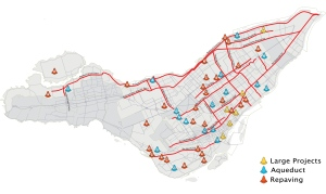 Construction locations for the city of Montreal