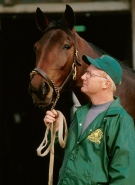 The late Stratford-area trainer Buddy Wellwood is seen with his world champion filly Odies Fame. (Photo courtesy of Dave Landry)