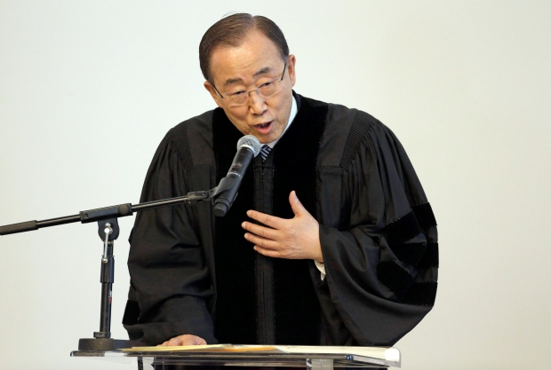 United Nations Secretary-General Ban Ki-moon speaks after receiving an honorary Doctor of Humane Letters degree from Loyola Marymount University in Los Angeles Wednesday, April 6, 2016. (AP Photo/Nick Ut)