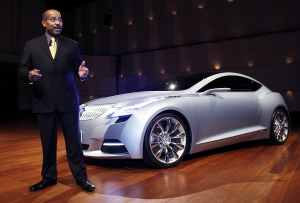 In this Jan. 10, 2008 file photo, Ed Welburn, vice president of GM Global Design, addresses the media during a press conference for the Buick Riviera concept at the Max M. Fisher building in Detroit. (AP / Gary Malerba)
