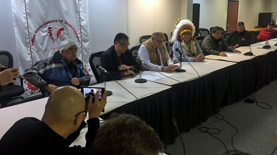 Officials with the Beardy's and Okemasis First Nation, as well as the Federation of Saskatchewan Indian Nations, address media in Saskatoon on Wednesday, April 6, 2016. (Julie Mireau/CTV Saskatoon)
