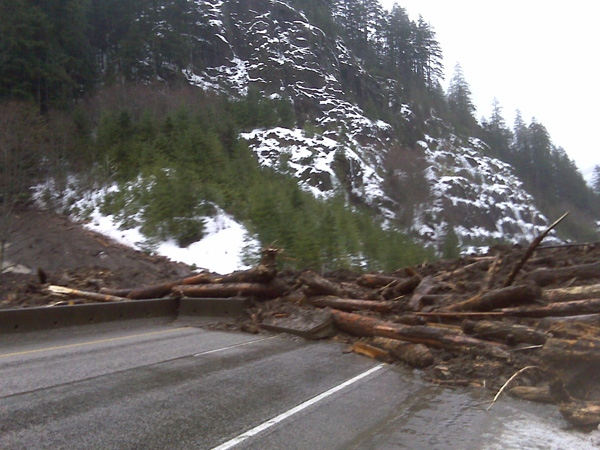 A mudslide on Highway 1 west of Hope, B.C. scatters trees across the normally busy roadway.