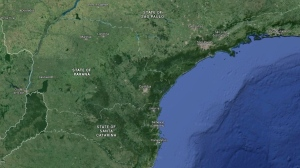 The Brazilian state of Parana is seen in this Google Maps image. Police say a bus in southern Brazil crashed into a tree and killed at least 10 passengers after would-be robbers opened fire from the roadside to force the bus to stop.