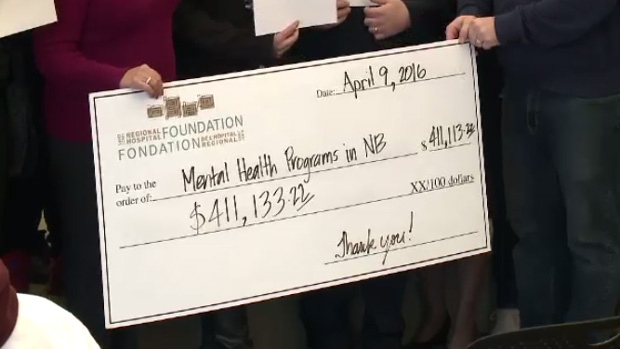 A cheque for over $410,000 was presented on Saturday for mental health programs in New Brunswick.