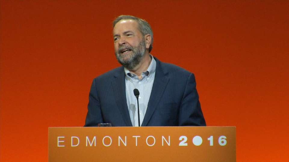 Tom Mulcair delivers keynote speech at NDP convention in Edmonton on Sunday, April 10, 2016.