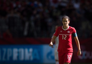 Canada's Christine Sinclair looks on during first half of the FIFA Women's World Cup round of 16 soccer action in Vancouver in this June 21, 2015, file photo. (Darryl Dyck / The Canadian Press)