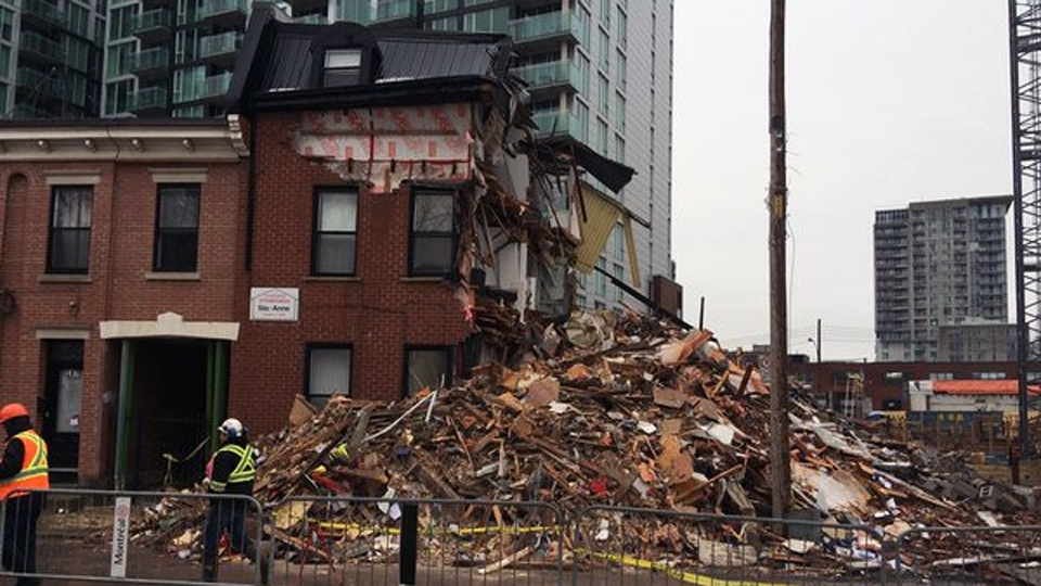 This building was demolished in Griffintown after crack developed in the building (Max Harrold/CTV Montreal)