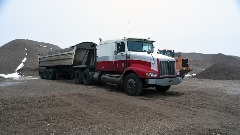 Sheree Fertuck's semi-truck, seen here, was found in a gravel pit the day after she was last seen in December 2015. (RCMP supplied)
