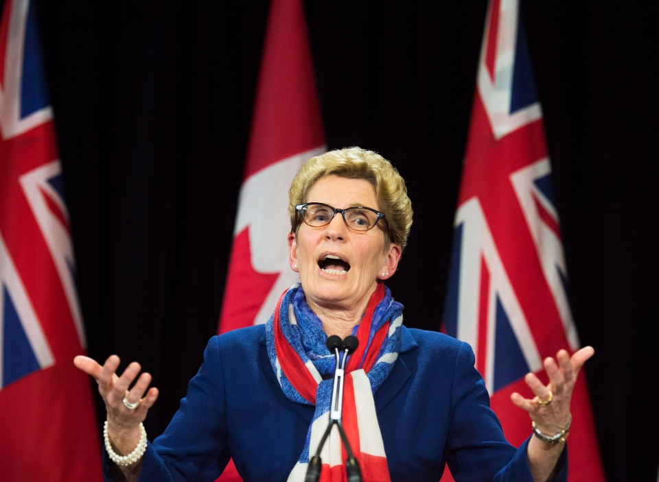 Ontario Premier Kathleen Wynne's speaks during a press conference regarding the political fundraising question at Queen's Park in Toronto on Monday, April 11, 2016. (The Canadian Press/Nathan Denette)