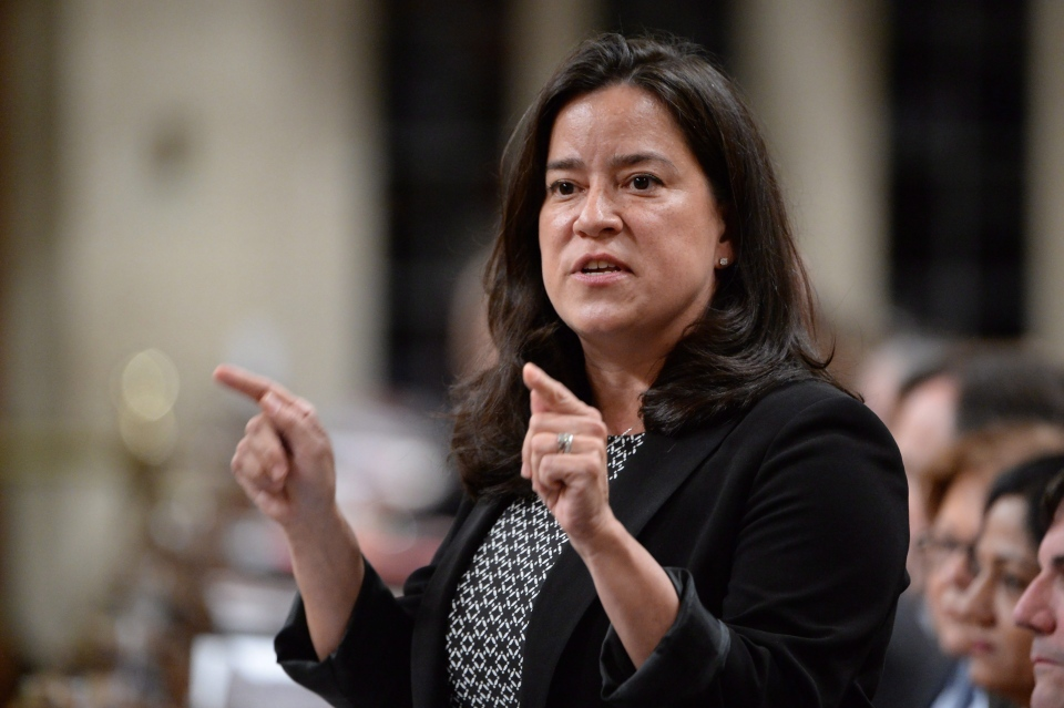 Justice Minister Jody Wilson-Raybould answers a question during Question Period in the House of Commons in Ottawa on April 11, 2016. (Adrian Wyld / The Canadian Press)