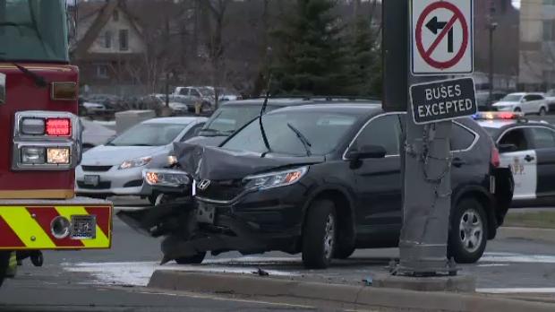 Front of car damaged at Hespeler Road crash