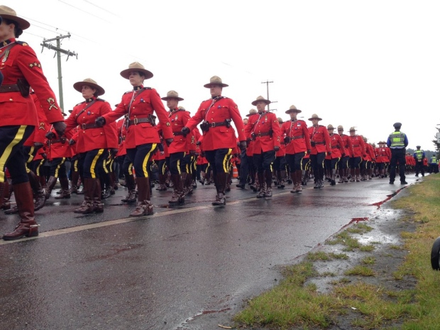 It was a sea of red and black as thousands of RCMP members from across Canada showed their support by marching to the regimental funeral for Const. Sarah Beckett, who was killed in a car crash last week. April. 12, 2016.