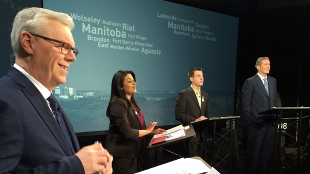 Manitoba's political party leaders sparred over taxes, poverty, health care and other issues on Tues., April 12.