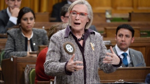 Carolyn Bennett, minister of Indigenous and Northern Affairs Canada, takes part in an emergency debate on the suicide crisis on Aboriginal reserves, particularly in Attawapiskat in Ontario, in the House of Commons in Ottawa, Tuesday, April 12, 2016. (Adrian Wyld / THE CANADIAN PRESS)