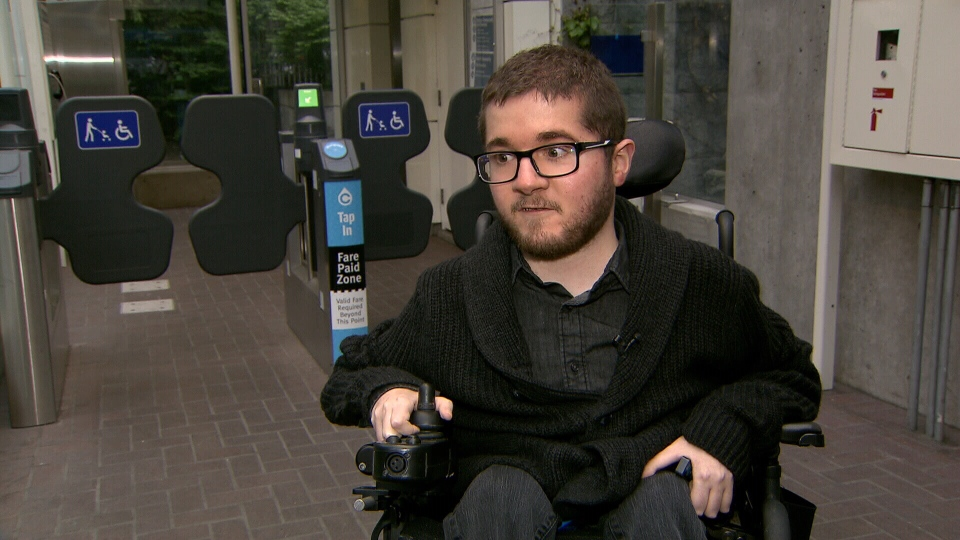 SFU student Luke Galvani isn't able to tap himself in, but says he often finds the wheelchair gates closed with no attendants around to help. (CTV)