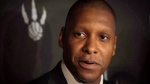 Toronto Raptors GM Masai Ujiri speaks to reporters at the team's media day at the Air Canada Centre in Toronto on Monday, September 29, 2014. (THE CANADIAN PRESS/Darren Calabrese)