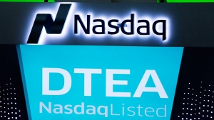 "DavidsTea is listing as ""DTEA"" at the Nasdaq MarketSite, Friday, June 5, 2015 in New York. As of Jan. 31, the Montreal-based beverage chain operated 130 locations in Canada and 24 shops in the U.S. (AP Photo/Mark Lennihan)"