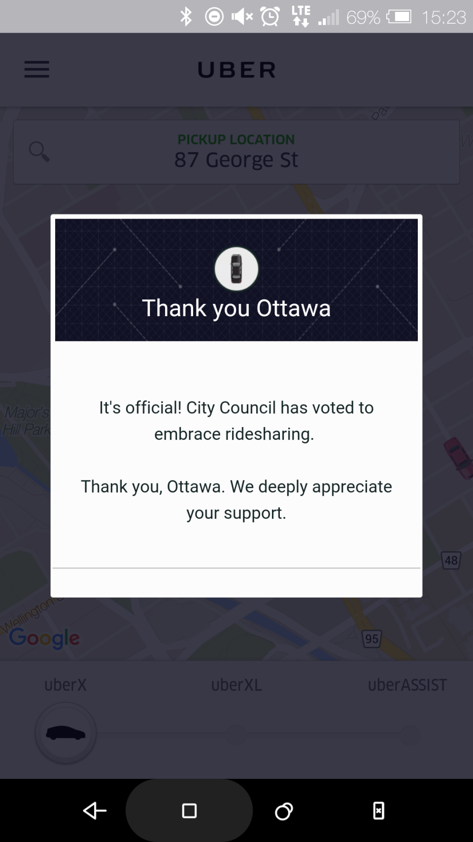 Uber provides an in-app thank you to Ottawa after City Council's decision to legalize the ridesharing service in September.