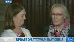 Ministers Carolyn Bennett and Jane Philpott weigh