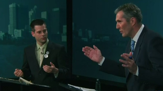 Green Party Leader James Beddome and PC Leader Brian Pallister during the televised debate on Tuesday, April 12, 2016.
