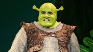 In this image released by Dreamworks Theatricals, Brian d'Arcy James portrays Shrek in the theatre production of 'Shrek The Musical.' Halifax's leading theatre company says it has altered its production of Shrek: The Musical in response to a transgender person who walked out of a recent performance to protest an offensive word. (THE CANADIAN PRESS/AP Photo/Dreamworks Theatricals, Joan Marcus)