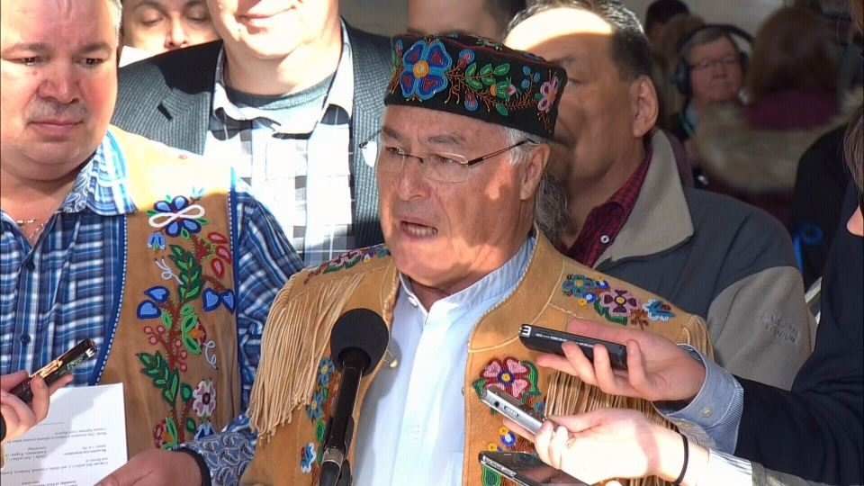 Metis National Council leader Clement Chartier reacts to the Supreme Court of Canada ruling that the federal government is responsible for the country's Metis and non-status Indian people on Thursday, April 14, 2016.