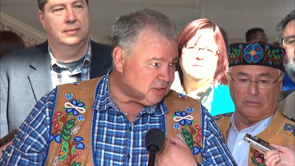 Manitoba Metis Federation President David Chartrand reacts to the Supreme Court of Canada ruling that the federal government is responsible for the country's Metis and non-status Indian people on Thursday, April 14, 2016.