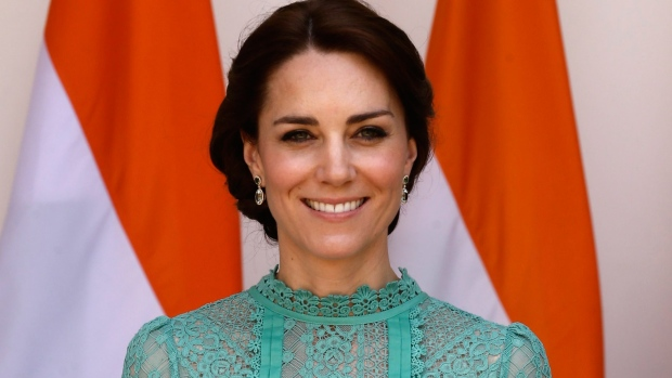 The Duchess of Cambridge is seen as she arrives for a lunch with Indian Prime Minister Narendra Modi in New Delhi, India, Tuesday, April 12, 2016. (AP Photo/Saurabh Das)