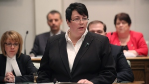 Newfoundland and Labrador Finance Minister Cathy Bennett presents the 2016 provincial budget at the legislature in St.John's, Thursday, April 14, 2016. THE CANADIAN PRESS/Paul Daly