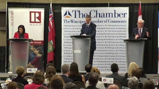 Liberal Leader Rana Bokhari, PC Leader Brian Pallister, and NDP Leader Greg Selinger squared off Thursday in the final debate before Tuesday's provincial election.