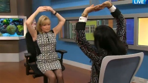 Chiropractor and rehab specialist Sapna Sriram demonstrates yawn stretching on CTV's Canada AM.