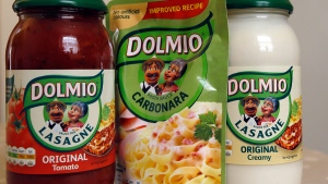 Dolmio pasta sauces are photographed in London, Friday, April 15, 2016. (AP / Kirsty Wigglesworth)