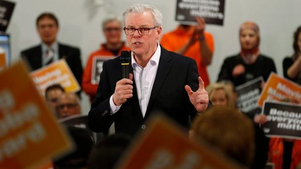 NDP leader Greg Selinger speaks