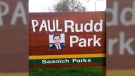 Canadian Vandalism? Someone turned Saanich's Rudd Park into Paul Rudd Park with some scotch tape and a photo of the smirking actor over the weekend. April 18, 2016. (Imgur)