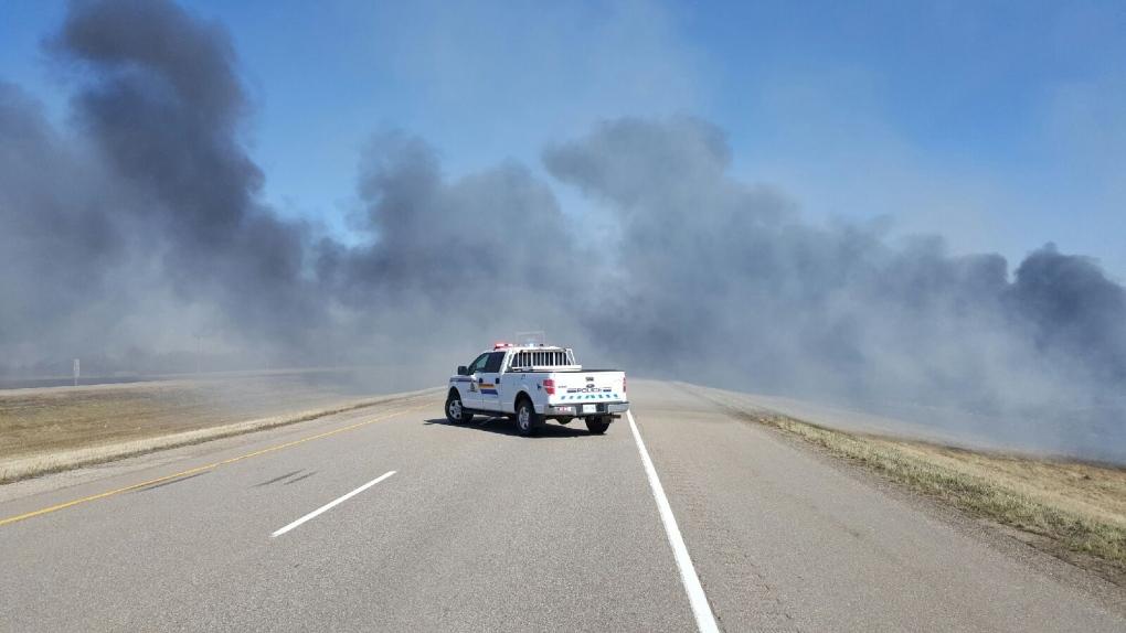 Highway 16 grass fire