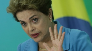 Brazil's President Dilma Rousseff speaks during a press conference about her impeachment process, at Planalto Presidential Palace, in Brasilia on Monday, April 18, 2016. (AP / Eraldo Peres)