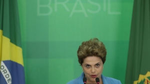 Brazil's President Dilma Rousseff speaks during a press conference about her impeachment process, at Planalto Presidential Palace, in Brasilia, Monday, April 18, 2016. (AP / Eraldo Peres)