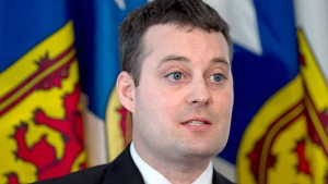 Nova Scotia Finance Minister Randy Delorey attends a budget briefing at the legislature in Halifax on Tuesday, April 19, 2016. Delorey has tabled the 2016-17 budget, with a $17.1 million surplus. (THE CANADIAN PRESS/Andrew Vaughan)