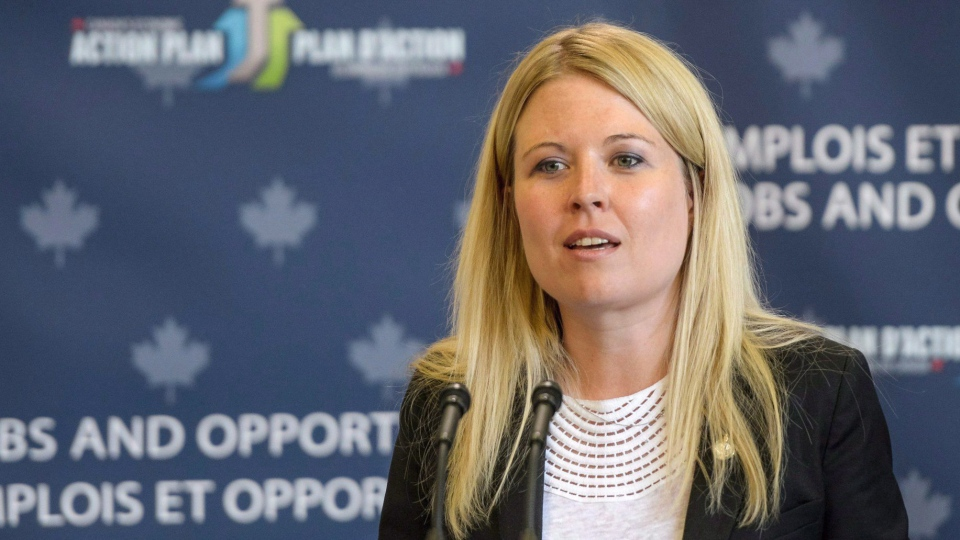 Conservative MP Michelle Rempel speaks during a media event at Northlands College in Air Ronge, Sask., Wednesday, July 30, 2014. (Matt Smith / THE CANADIAN PRESS)