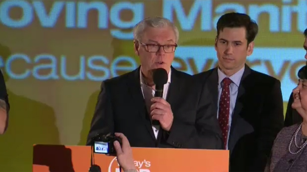 Greg Selinger announces he is resigning as leader of the New Democratic Party of Manitoba after his party lost the 2016 election.